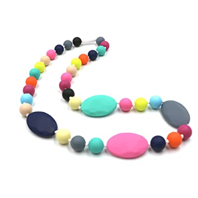 Baby Teething Necklace for Mom to Wear, Maberry Silicone Nursing Chewable Beads Teether Toys - BPA Free (Rainbow A) : Baby