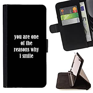Reasons Smile You Love Positive Quote Romance - Painting Art Smile Face Style Design PU Leather Flip Stand Case Cover FOR Sony Xperia Z2 D6502 @ The Smurfs