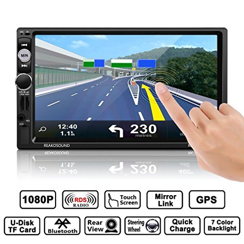 Catuo Full HD 1080P 7'' IR Remote Control Touch Screen Bluetooth/USB/RDS/AM/FM GPS Car MP5 Player Support Steering Wheel Control with Rear View Camera, TF Card, 7 Color Backlight, Player Bracket etc. (Double Link Trim)