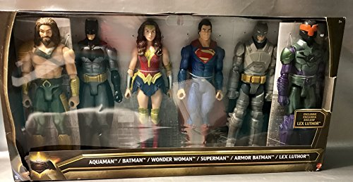 DC Batman v Superman: Dawn of Justice Aquaman, Batman, Wonder Woman, Superman, Armor Batman & Lex Luthor 12 Action Figure 6-Pack