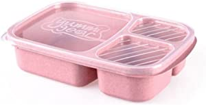 Meal Prep Containers 3-Compartment Lunch Boxes Food Storage Containers with Lids, Food Storage Bento Box,Stackable,Reusable Lunch Boxes, Microwave/Dishwasher/Freezer Safe,Portion Control (pink)