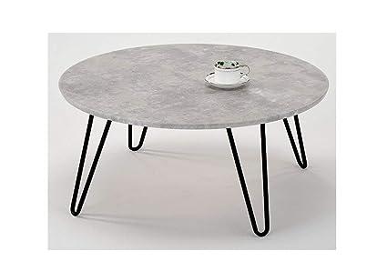nouveaux styles ad84b 87d71 Meubletmoi Table Basse Ronde Pied métal Vintage - Plateau ...