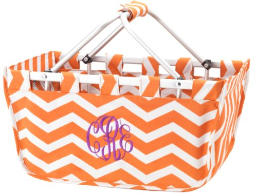 Reusable Shopping Market Tote Basket Craft Sewing Organizer, Orange Chevron