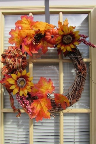 Autumn Grapevine Wreath with Sunflowers, Leaves, and a Bow on a Window Journal: 150 Page Lined Notebook/Diary