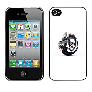 Abstracto blanco Yin Yang 3D dimensional- Metal de aluminio y de plástico duro Caja del teléfono - Negro - iPhone 4 / 4S