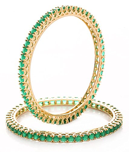 MGold Beautiful CZ Studded Gold Plated Bangles for Women (Pack Of 2)