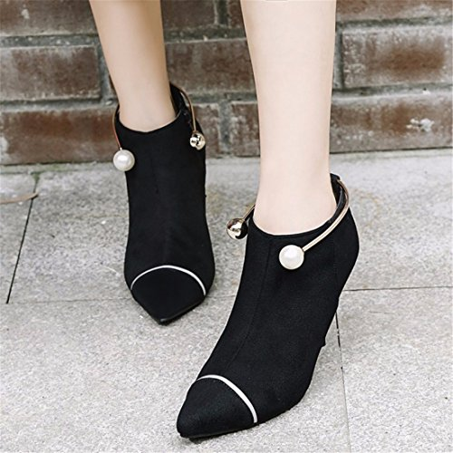 RFF-Women's Shoes Winter Pearl Suede High-Heeled Boots Fine Metal Ring With The Boots Black 61m4z2qOdt