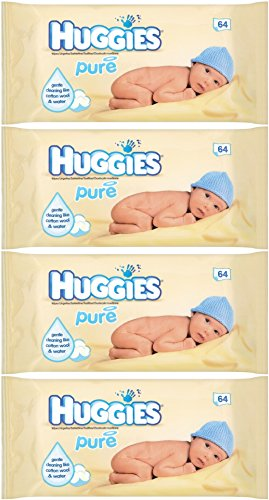 Huggies Baby Pure Wipes Refill 64 Count (Pack of 4) 256 Wipes Total