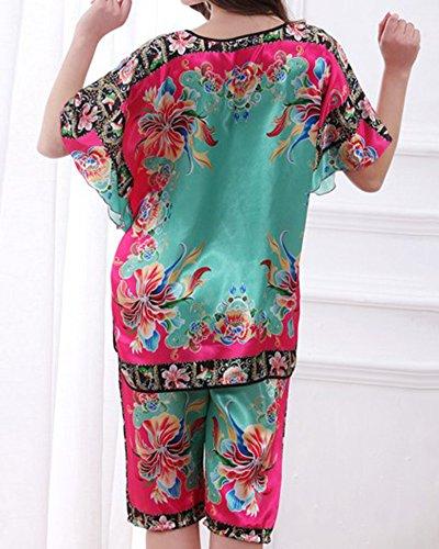 Maniche Donne Pantaloni Pezzi Raso Pigiama Pigiama Due Lunghe Verde Sleepwear qfZpwSWfn