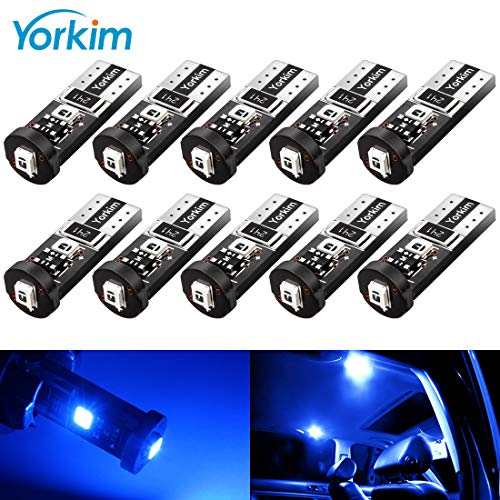 Yorkim 194 Led Bulb Blue Canbus Error Free 3-SMD 2835 Chipsets, T10 Blue Interior Led For Car Dome Map Door Courtesy License Plate Trunk lights with 194 168 W5W 2825 Sockets Pack of 10, Blue ()