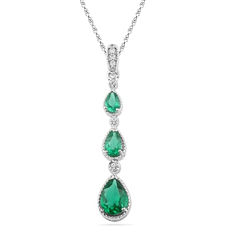 D-GOLD Sterling Silver Pear Lab Create Emerald and Round Diamond Fashion Pendant 0.97Cttw