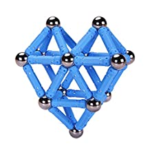 PlayMaty 70pcs Magnetic Construction Set with Stright Rods and Stell Balls for Toddlers(light blue)