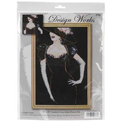 Tobin 14 Count Lady in Black Counted Cross Stitch Kit, 12 by 20-Inch (Woman Stitch Cross Counted)