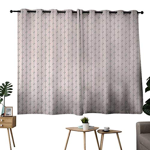 "NUOMANAN Bedroom Curtains Valentines Day,Endless Eternal Love Icon Hand Drawn Hearts in Stripe Row Image,Light Pink and Black,Room Darkening Waterproof Curtains for Bathroom 42""x54"""