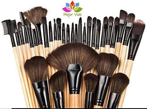 d57c39fd1 Brochas Maquillaje Vander Profesionales Set De 32 + Estuche Color Negro