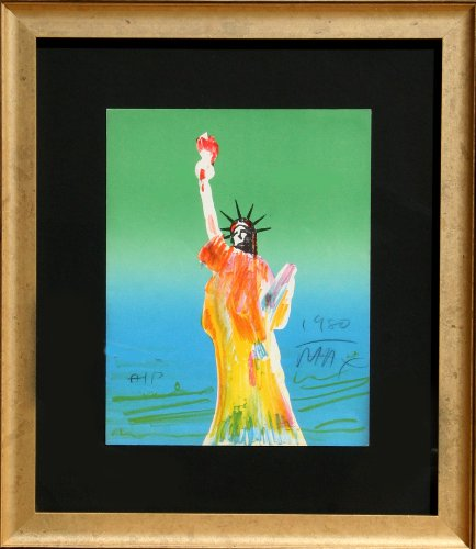 Peter Max Lithograph (Statue of Liberty (Green/Blue))