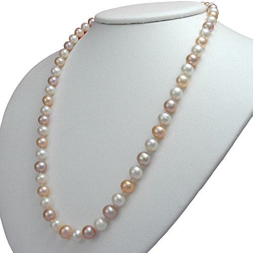 Aa+ Natural Pearl Necklace - Orien Jewelry Multicolor Freshwater Cultured Pearl Necklaces 6mm AA Cultured Pearl Pendant Necklace for Women