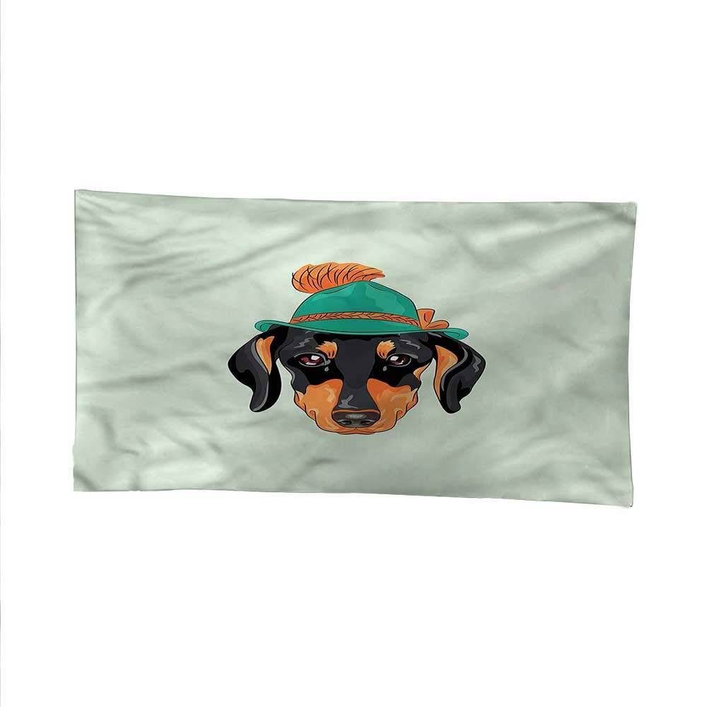 Dachshundfunny tapestryquote tapestryHipster Dog and Hat 84W x 70L Inch