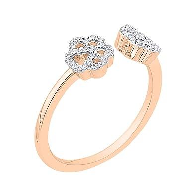 6ad7d5e7a Amazon.com: KATARINA Diamond Dog Paw Cuff Ring in 10k Gold (1/8 cttw ...