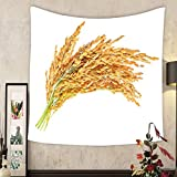 Lee S. Jones Custom tapestry ear of paddy ears of thai jasmine rice isolated on white background