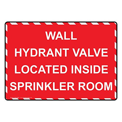 Vinyl Hydrant - ComplianceSigns Vinyl Wall Hydrant Valve Located Inside Sprinkler Room Labels, 5 x 3.50 in. with English Text, Red, pack of 4
