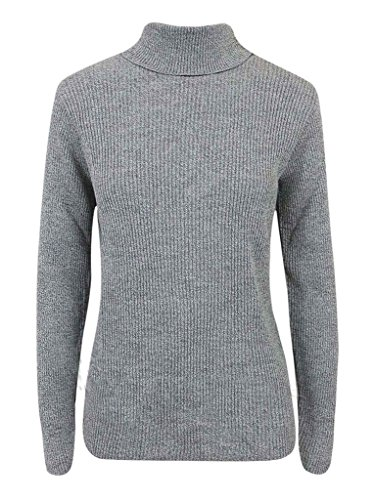 New Gray Ribbed (Rimi Hanger New Ladies Women's Polo Turtle Neck Rib Long Sleeve Tee Top Jumper Gray Medium)