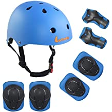 Lanova Toddler Kids Adjustable Helmet Sports Protective Gear Set,CPSC Certified Boy Girl Helmet Knee Elbow Wrist Pads for Roller Bicycle Bike Skateboard and Other Extreme Sports Activities