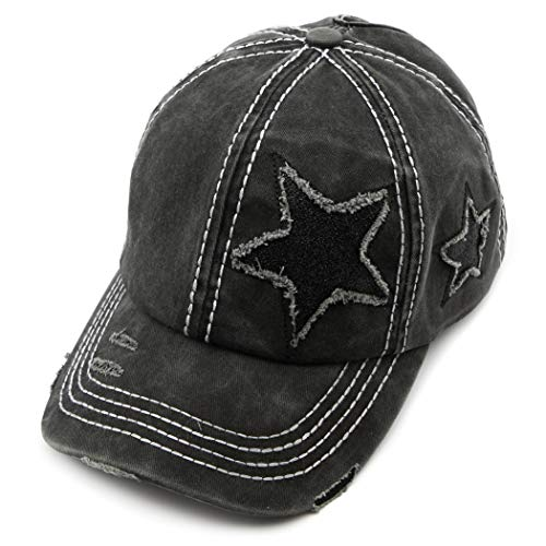 C.C Exclusives Hatsandscarf Washed Distressed Cotton Denim Ponytail Hat Adjustable Baseball Cap (BT-14) (Black Glitter Stars)