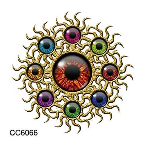 Golden Gate gold spinners 3rd eye chakra aztec rainbow eyeballs temporary tattoo body art metallic flash body jewelery cosplay anime kawaii body stickers manga fake tattoo waterproof body (Louis Vuitton Halloween Costume)