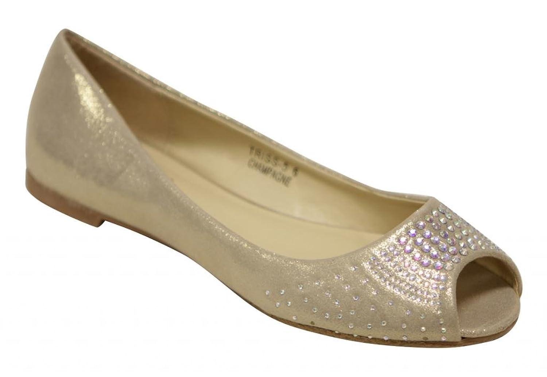 Anna Triss-5 Women's peep toe beads and rhinestones toe box slip on glitter flats