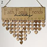 Taiguang Wooden Board Faith Family Friends Hanging Calendar Birthday Reminder Plaque