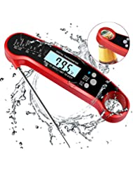 uvistare Digital Meat thermometer, Instant Read Thermometer, 2-4s Ultra-Fast Waterproof Cooking Thermometer for Grilling, Smoker, Oven (2 Batteries & Temperature Guide Included)