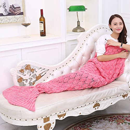 """Knitted Mermaid Tail Blanket Handmade Crochet Soft Sleeping Bag All Seasons Quilt Snuggle Cozy for Adults Teens 74.8""""x35.4"""" by Annerhome (Cute Costumes For Men)"""