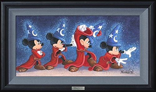 Disney Fine Art The Sorcerer's Spell by Michelle St. Laurent Frame Dimensions 17.5 Inches x 29.5 Inches Fantasia Mickey Mouse Silver Series Reproduction Limited Edition on Canvas