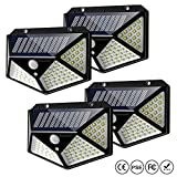 Solar Lights Outdoor, IC ICLOVER [100 LED] IP65 Waterproof Solar Powered Motion Sensor Wall Lights with 270° Wide Angle up to 1000 Lumens for Garden,Patio Yard,Fence,Deck Garage,Porch -4 Pack
