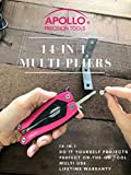 Apollo Tools 14-in-1 Pink Steel Pocket Multitool