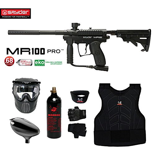 MAddog Spyder MR100 Pro Beginner Protective CO2 Paintball Gun Package - Black