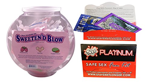 Bundle package 1 Sweeten D Blow: Oral Gel Bowl (72) Asst. AND 1 Wet Safe Sex Kit with Platinum Silicone Lubricant by Little Genie