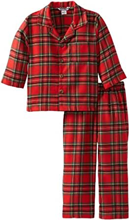 Kitestrings Little Boys' Boy Flannel Long Sleeve Pajama Set, Red Plaid, 2T