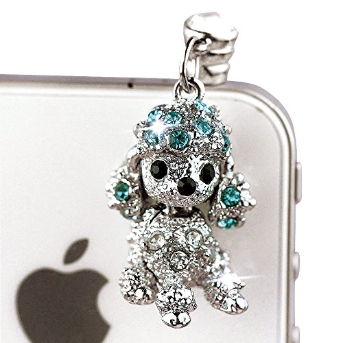 IP483-B Cute Crystal Blue Poodle Dog Dust Proof Phone Plug Cover Charm For iPhone Android 3.5mm