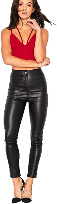 d8282fb3a5ed7 Shelikes Womens Black Wet Leather Glossy High Look PU Stretch Fit Sexy Rise  Faux Skinny Waisted