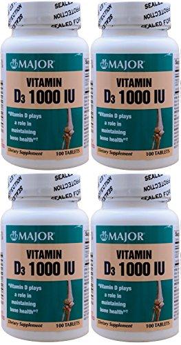 Vitamin D3 as Cholecalciferol 1000 IU Vitamin D Supplement 100 Tablets per Bottle PACK of 4 Total 400 Tablets