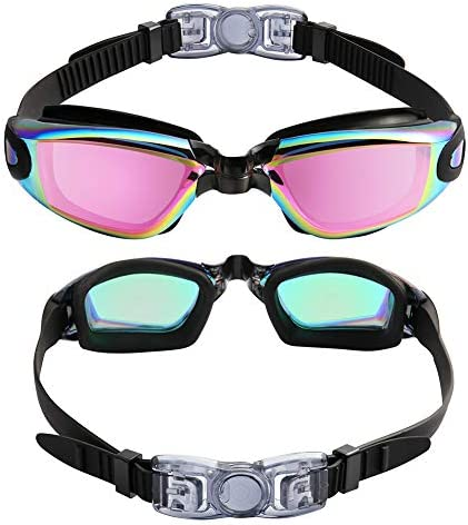 Aegend Swim Goggles, Pack of two Swimming Goggles No Leaking Anti Fog UV Protection Crystal Clear Vision Triathlon Swim Goggles with Free Protection Case for Adult Men Women Youth Teens, 10 Choices