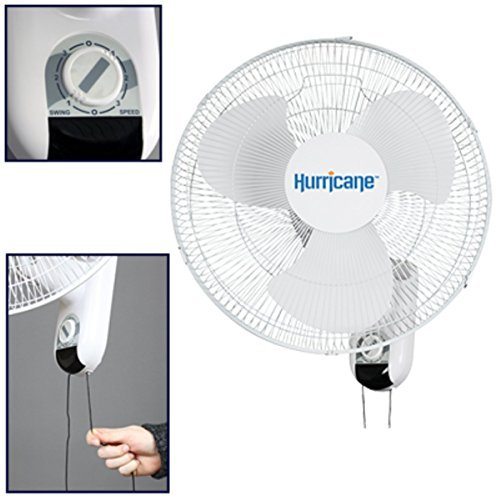2 X Hurricane Classic 16-Inch Wall Mount Oscillating Fan