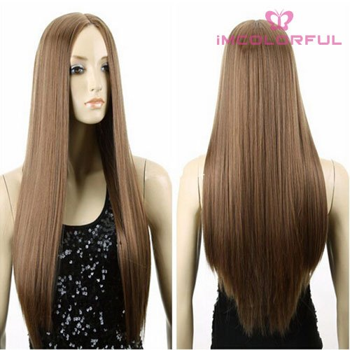 Imcolorful Halloween 80cm Women Wig Long Hair Heat Resistant Spiral Straight Costume Cosplay Wig (Light Brown)