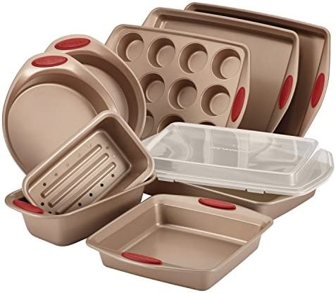 Rachael Ray 52410 Cucina Nonstick Bakeware Set with Baking Pans, Baking Sheets, Cookie Sheets, Cake Pan, Muffin Pan and Bread Pan – 10 Piece, Latte Brown with Cranberry Red Grip