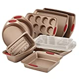 Rachael Ray Cucina 10-Pc NonStick Bakeware Set Brown & Red Handles Deal (Small Image)