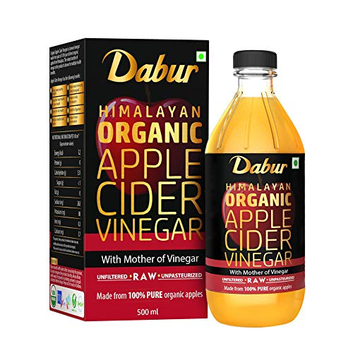 Dabur Himalayan Organic Apple Cider Vinegar with Mother of Vinegar |100% Pure| USDA Organic Certified |Raw, Unfiltered and Unpasteurized|Helps Boost Immunity – 500 ml