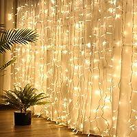 LE 9.84*19.68ft 594 LED Window Curtain Icicle Light Linkable Design Warm White