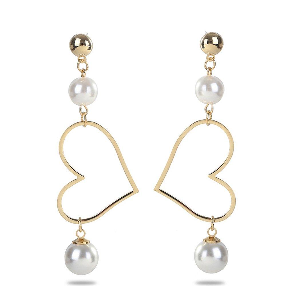 WLL Elegant Women Girls White Pearl Hollow Love Heart Drop Earring Wedding Party Banquet Jewelry